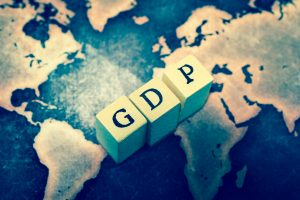 GDP on grunge world map
